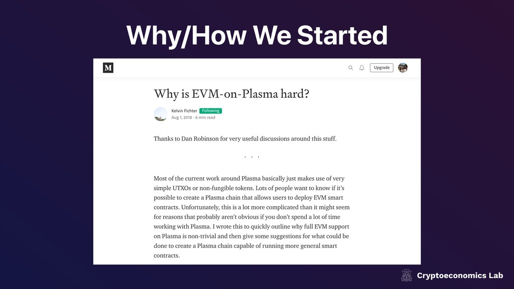 Why/How We Started