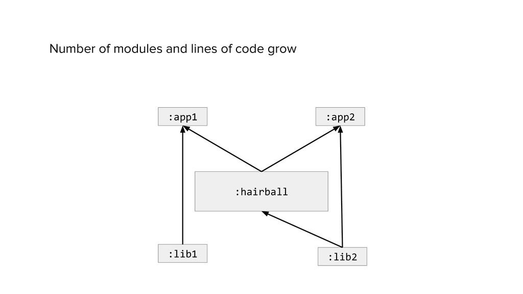 :hairball :app2 :app1 :lib1 :lib2 Number of mod...