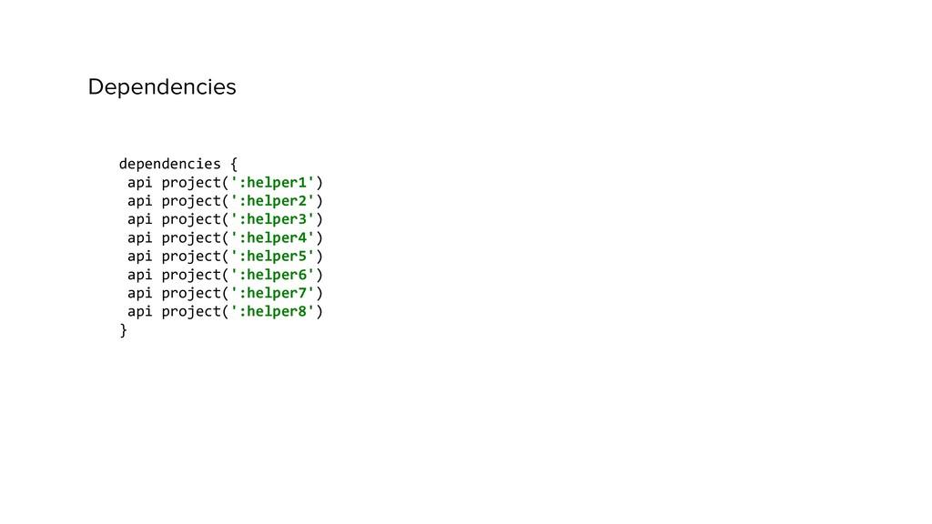 dependencies { api project(':helper1') api proj...