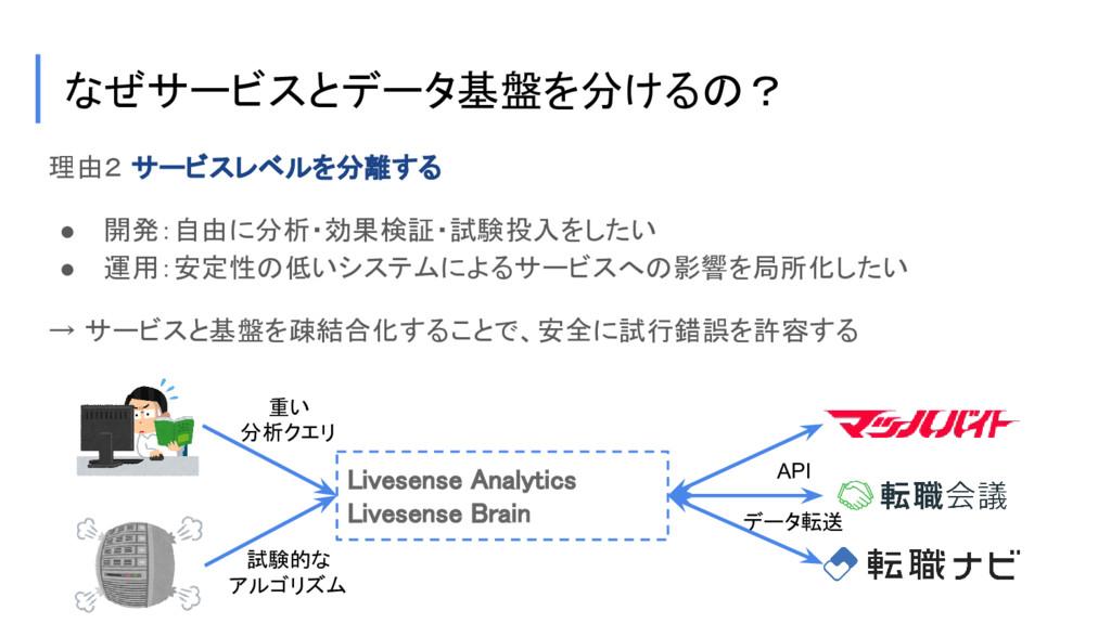 理由2 サービスレベルを分離する ● 開発:自由に分析・効果検証・試験投入をしたい ● 運用:...