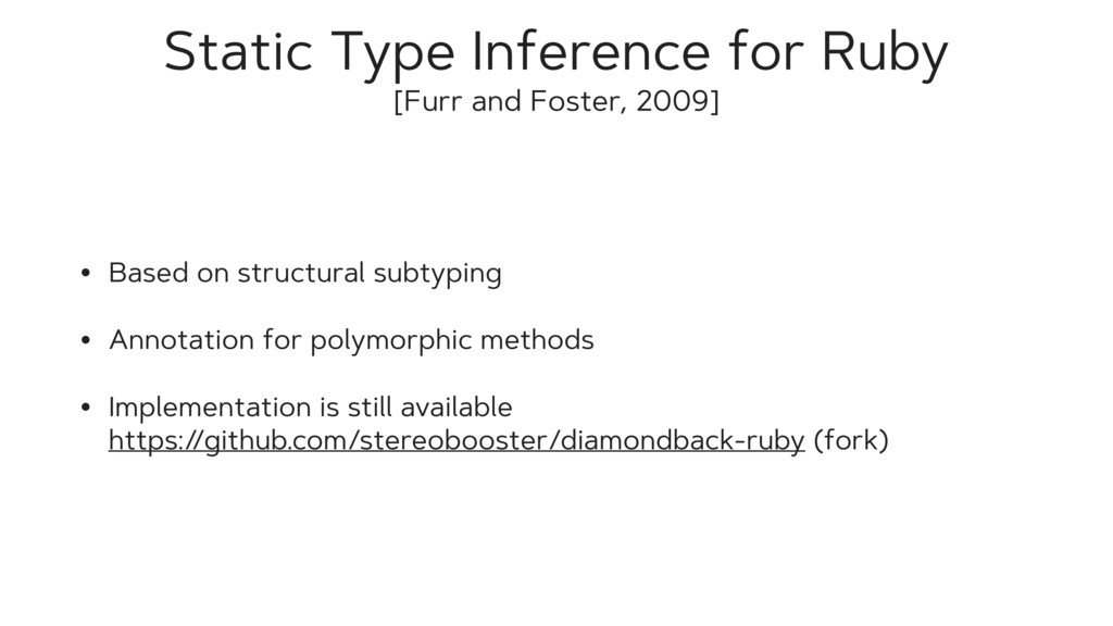Static Type Inference for Ruby