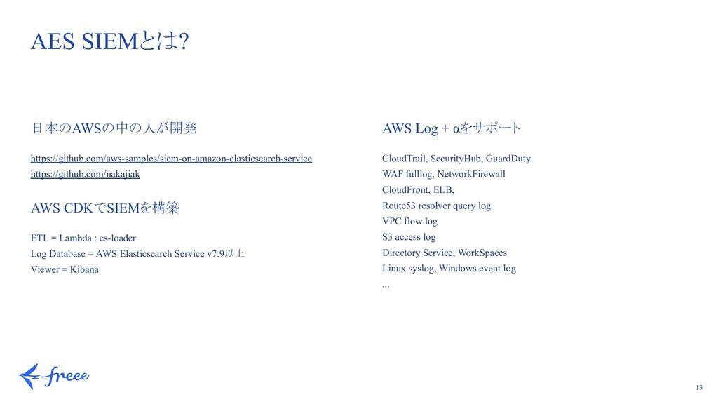 13 AES SIEMとは? 日本のAWSの中の人が開発 https://github.com...