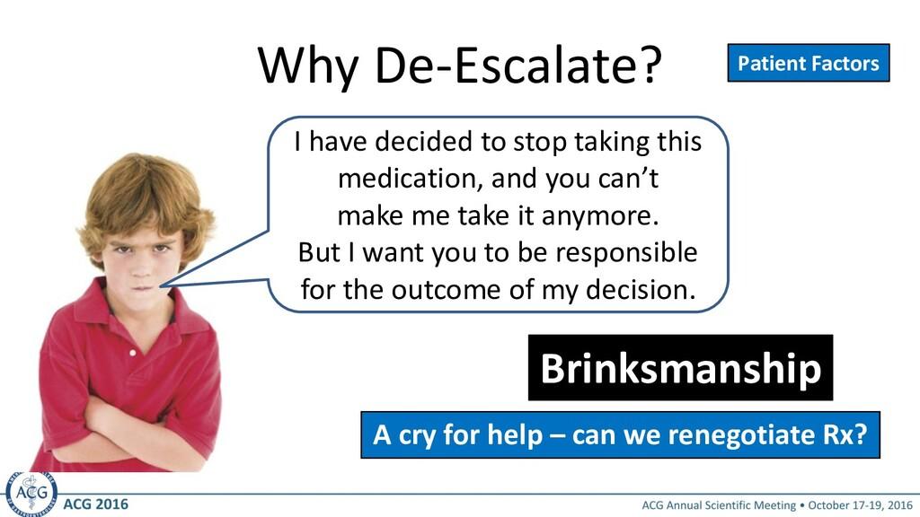 Why De-Escalate? Brinksmanship Patient Factors ...