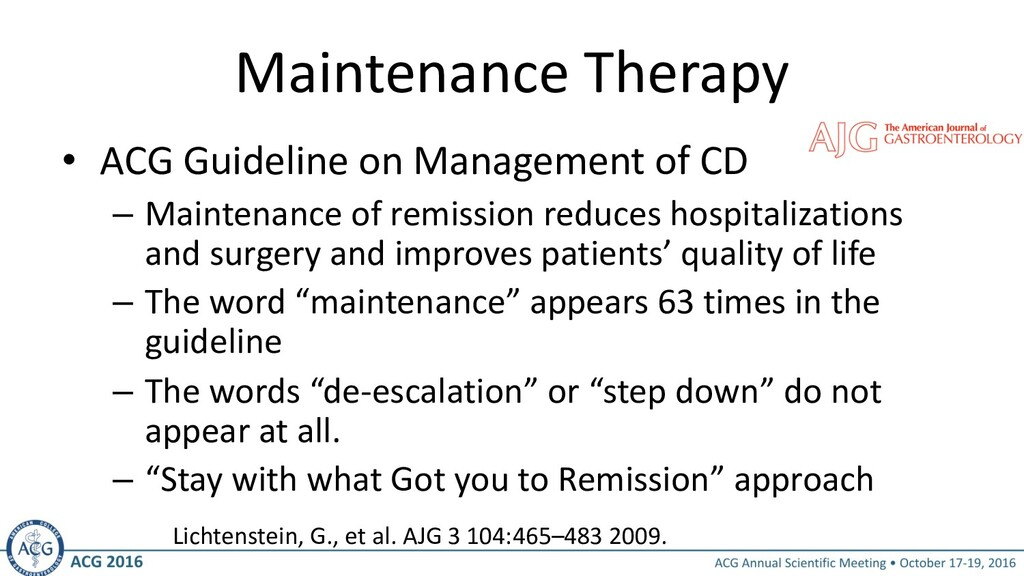 Maintenance Therapy • ACG Guideline on Manageme...