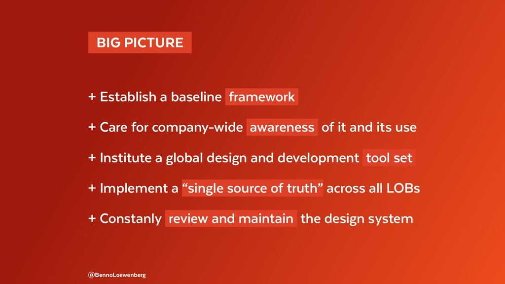 BIG PICTURE  + Establish a baseline framework...