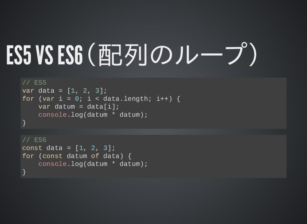 ES5 VS ES6(配列のループ) // ES5 var data = [1, 2, 3];...