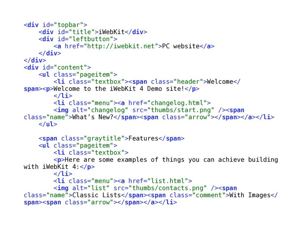 """<div id=""""topbar""""> <div id=""""title"""">iWebKit</div>..."""