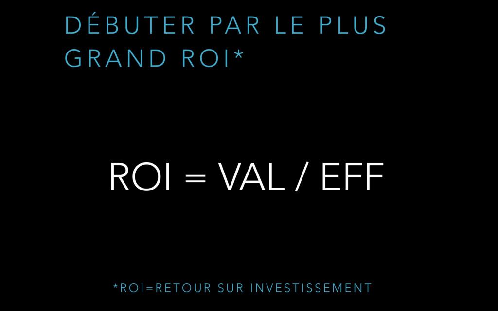 ROI = VAL / EFF D É B U T E R PA R L E P L U S ...