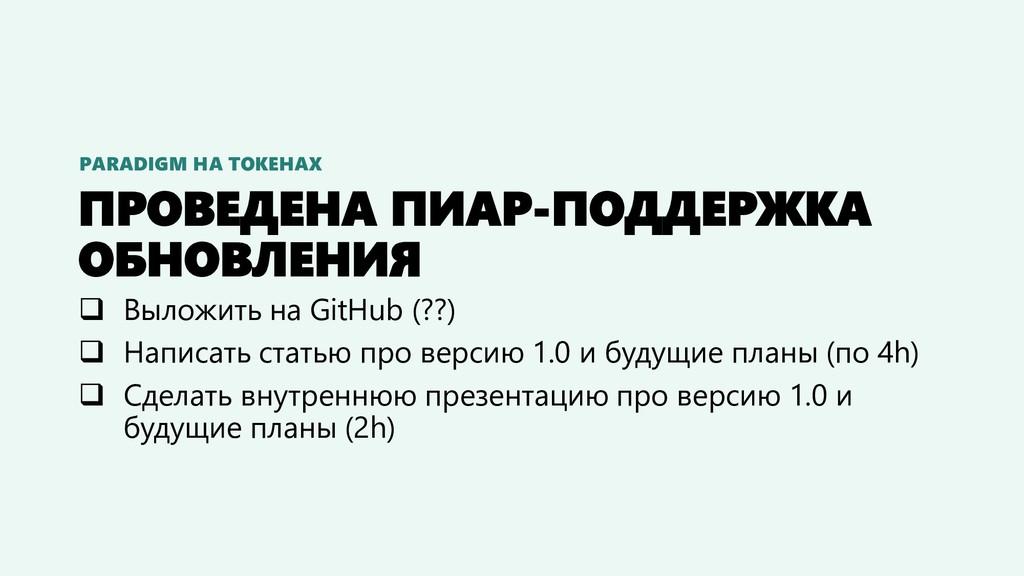 ПРОВЕДЕНА ПИАР-ПОДДЕРЖКА ОБНОВЛЕНИЯ ❑ Выложить ...