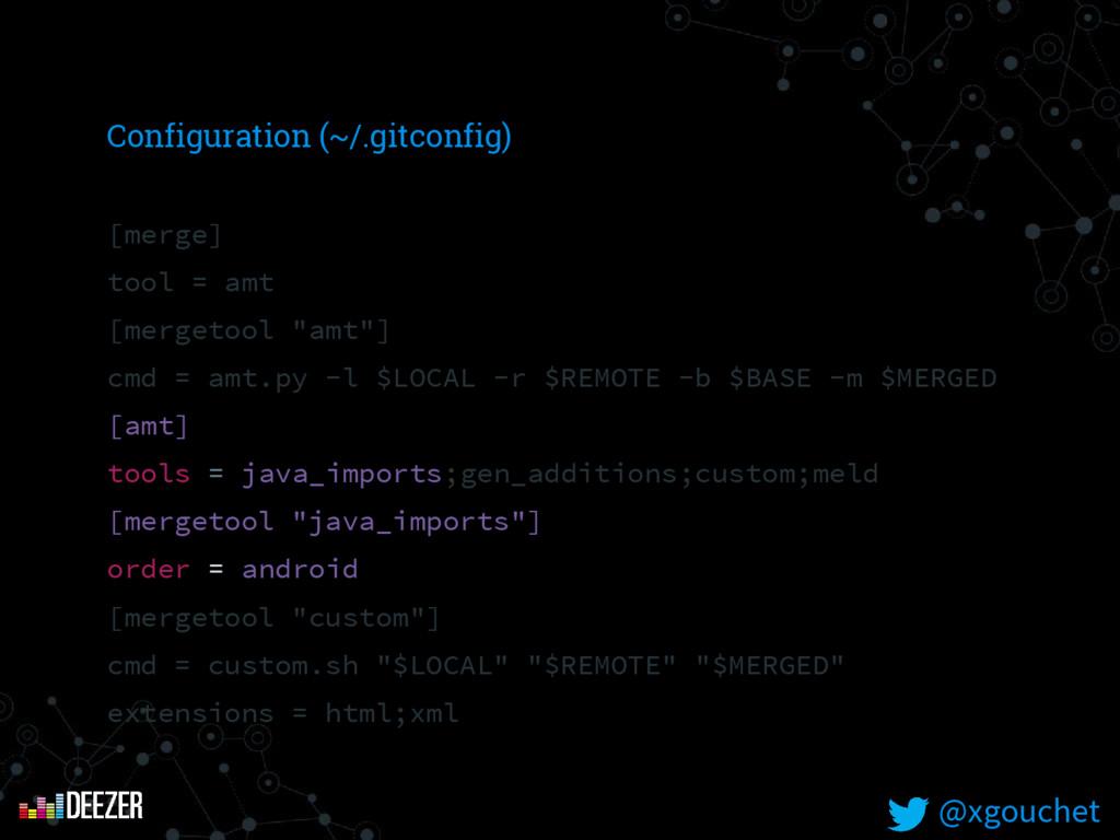 Configuration (~/.gitconfig) [merge] tool = amt...