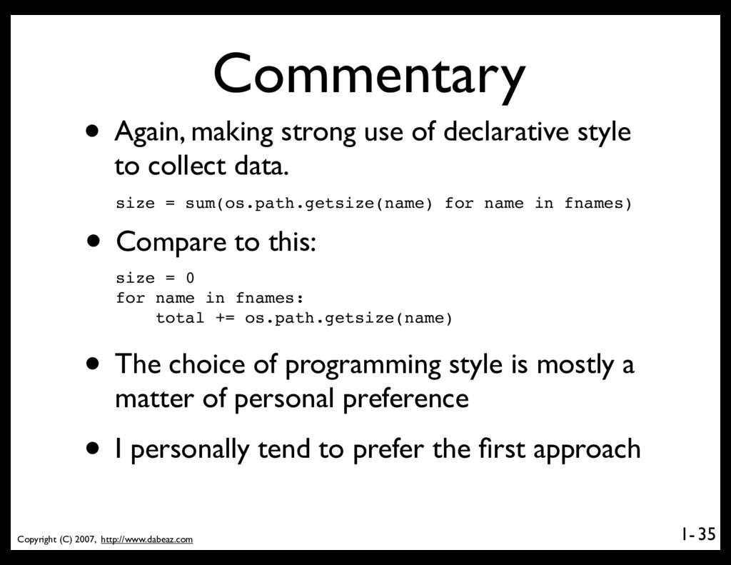 Copyright (C) 2007, http://www.dabeaz.com 1- Co...