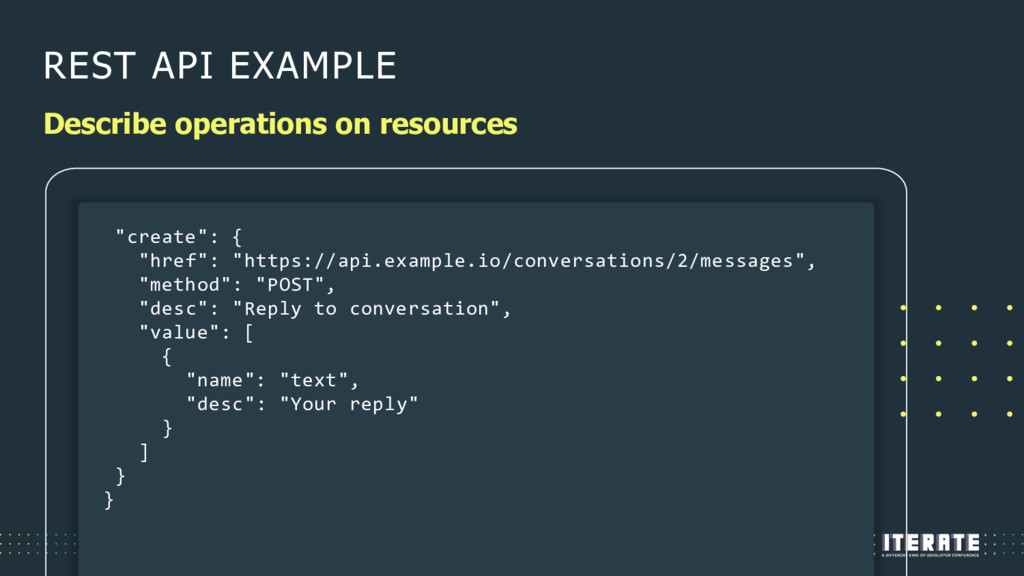 REST API EXAMPLE Describe operations on resourc...