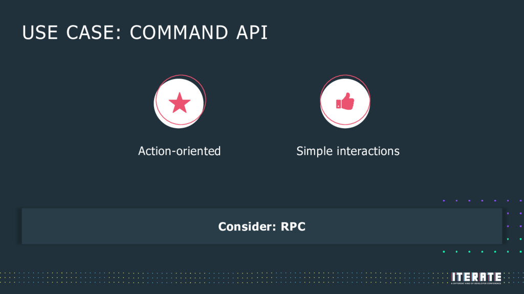 USE CASE: COMMAND API Consider: RPC Action-orie...