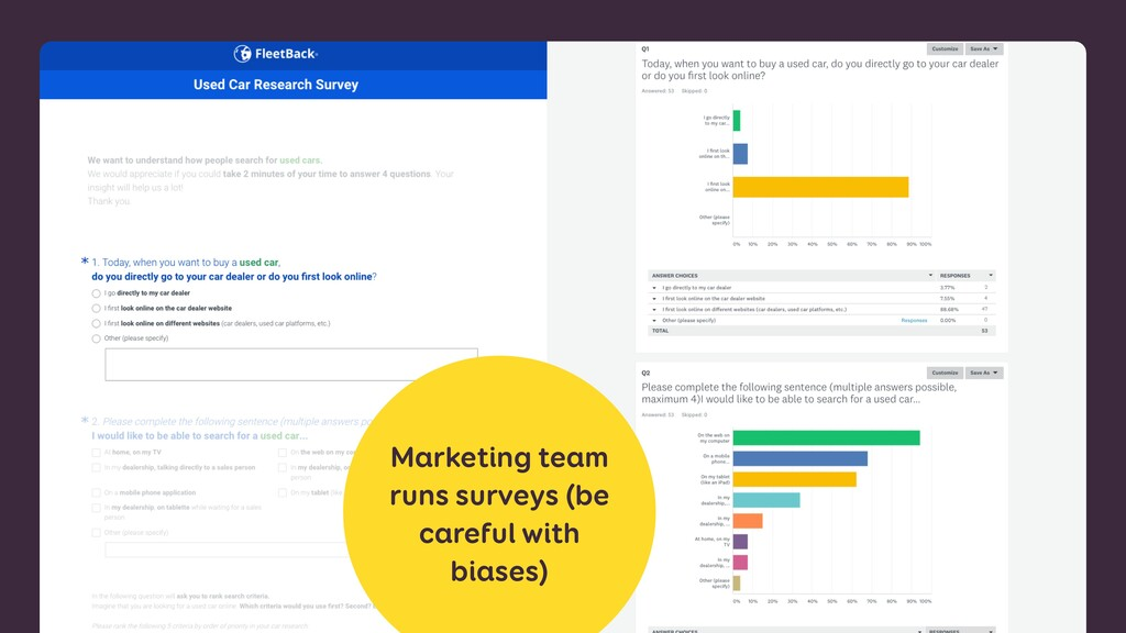 Marketing team runs surveys (be careful with bi...