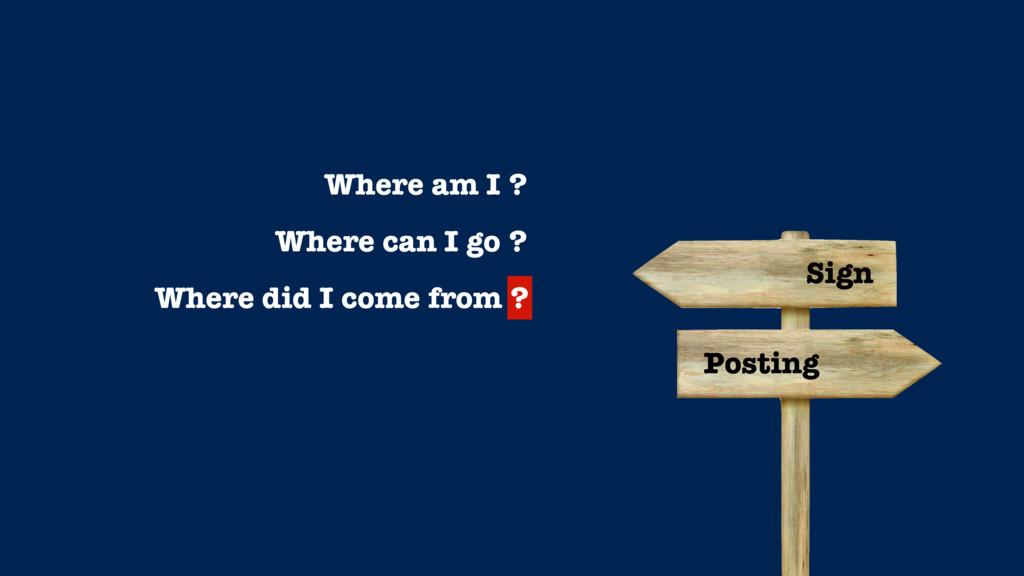 Where am I ? Where can I go ? Where did I come ...