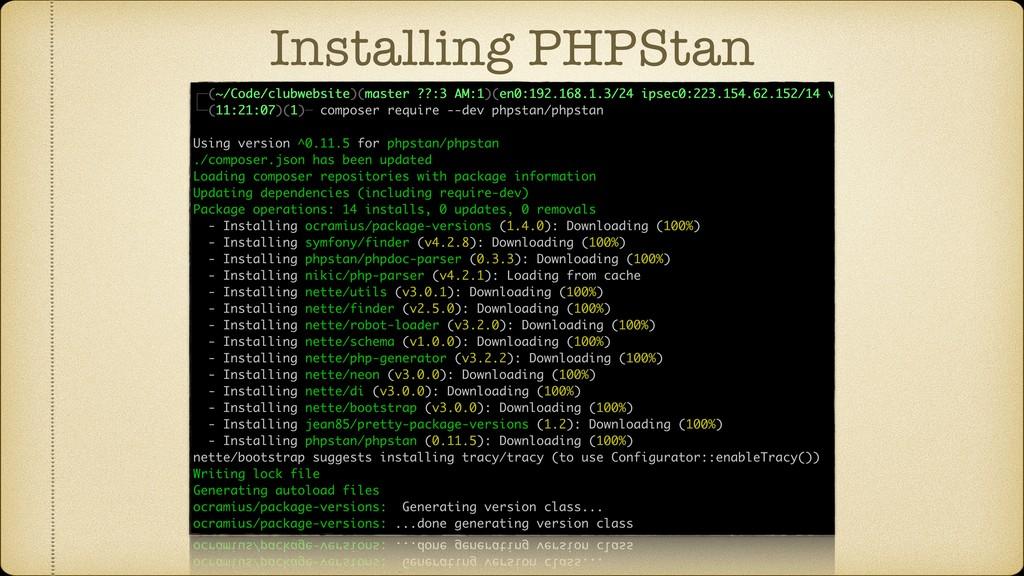 Installing PHPStan