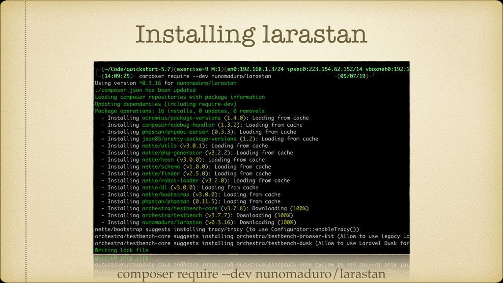 Installing larastan composer require --dev nuno...