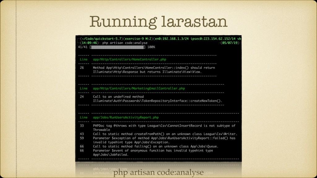 Running larastan php artisan code:analyse
