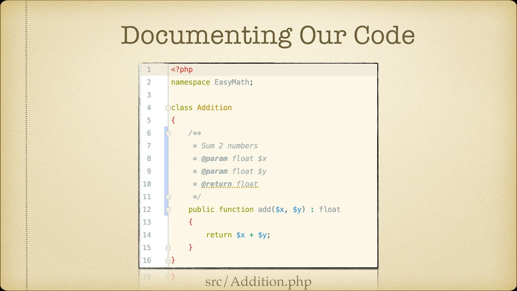 Documenting Our Code src/Addition.php