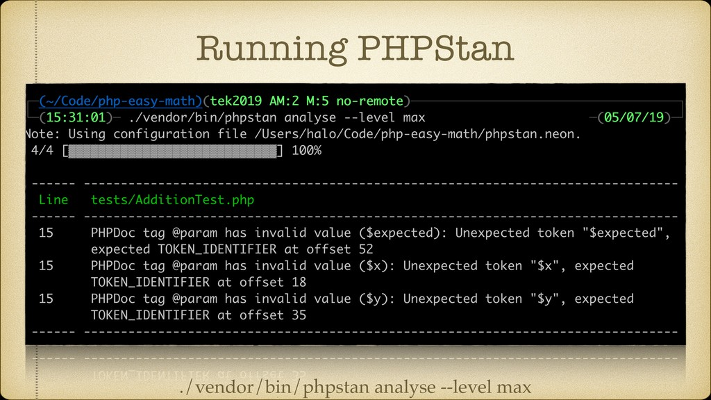 Running PHPStan ./vendor/bin/phpstan analyse --...