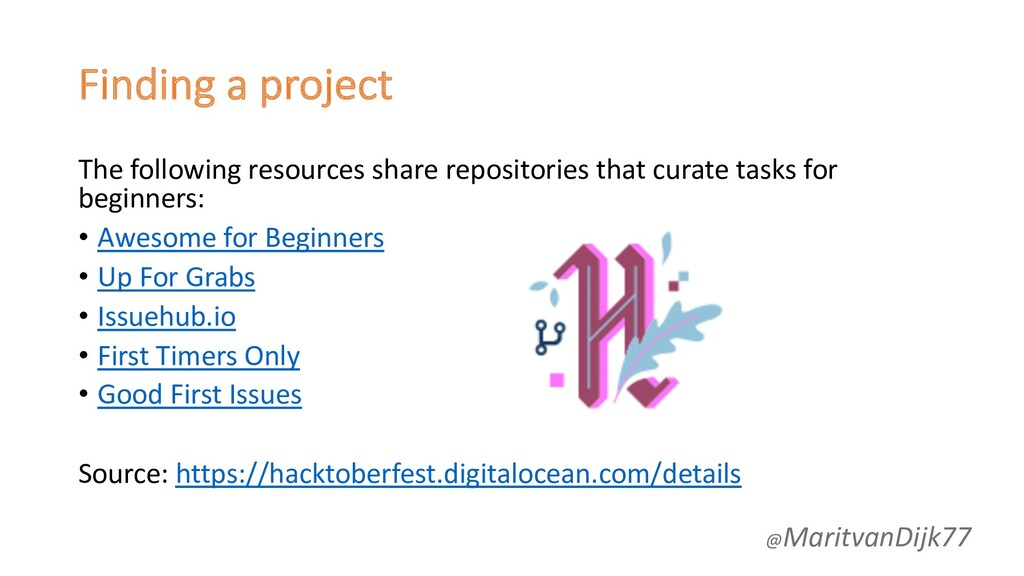 Finding a project The following resources share...