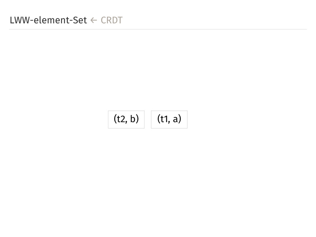 LWW-element-Set ← CRDT (t1, a) (t2, b)