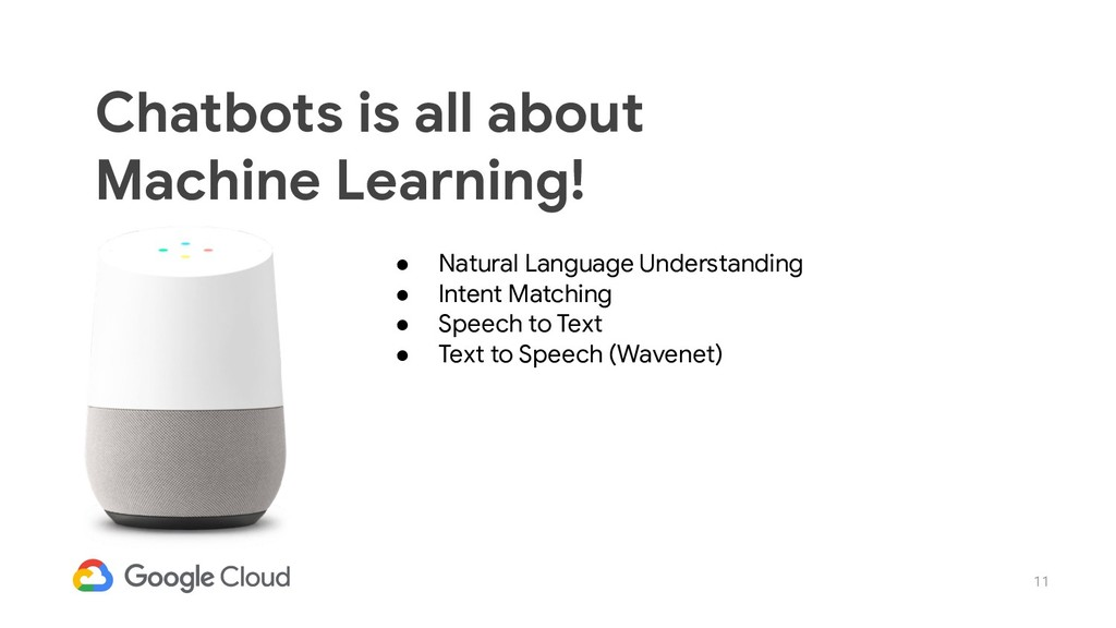 11 Chatbots is all about Machine Learning! ● Na...
