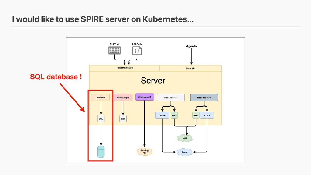 I would like to use SPIRE server on Kubernetes…...