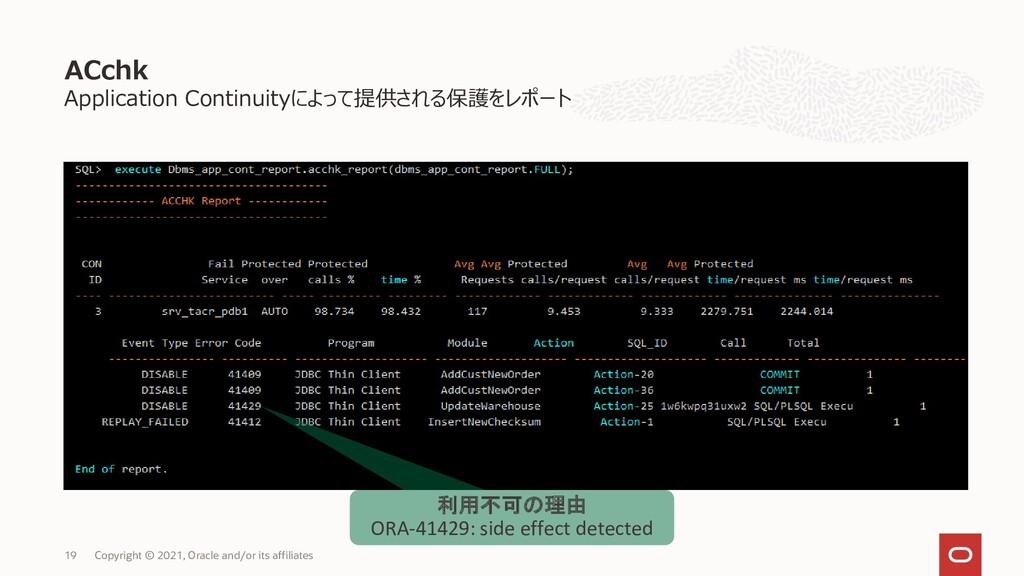 ACchk Application Continuityによって提供される保護をレポート 19...