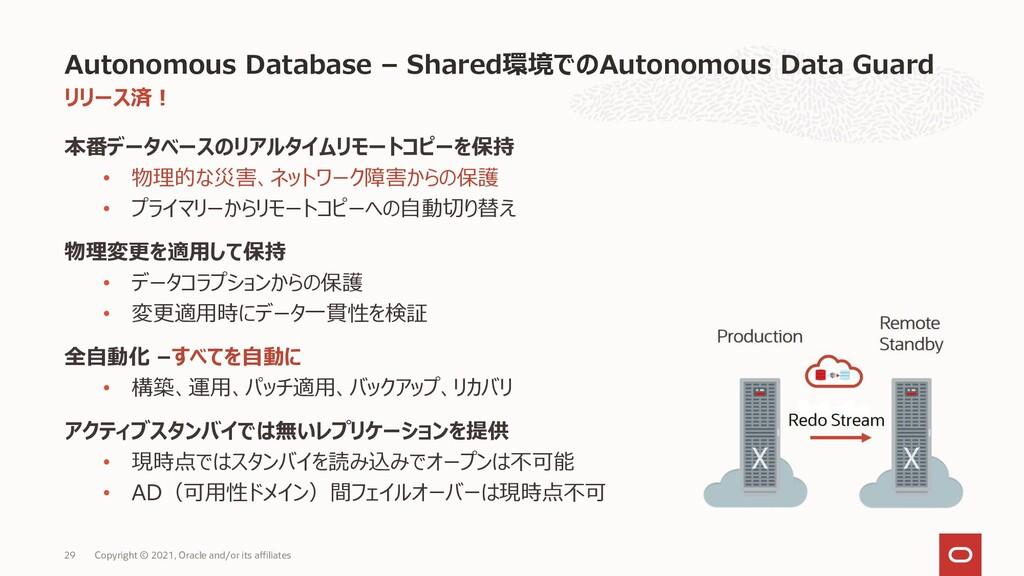 リリース済! 本番データベースのリアルタイムリモートコピーを保持 • 物理的な災害、ネットワー...