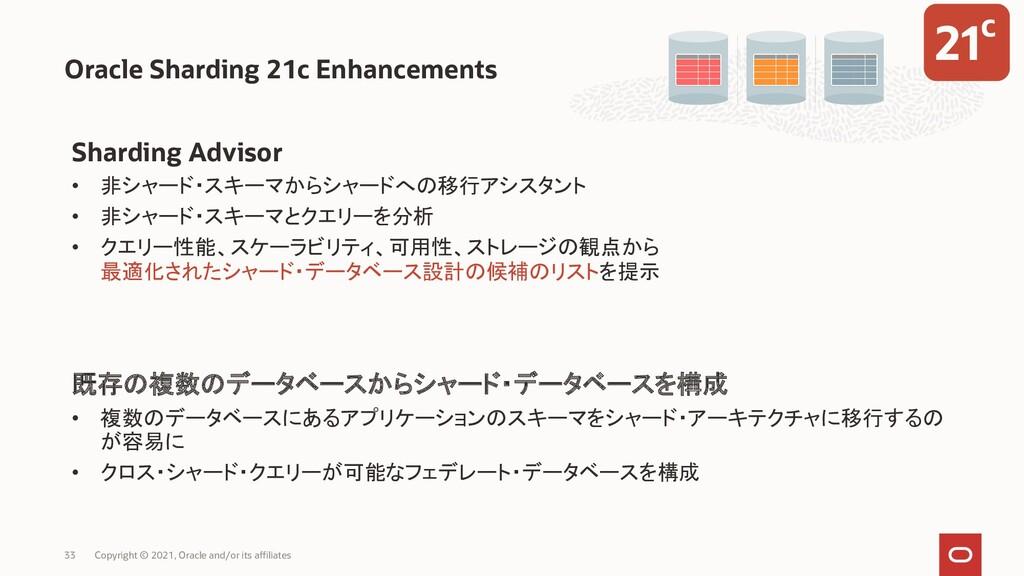 Oracle Sharding 21c Enhancements Sharding Advis...