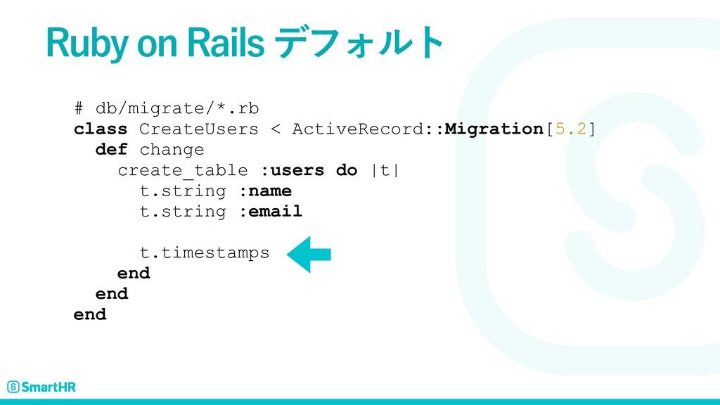 # db/migrate/*.rb class CreateUsers < ActiveRec...