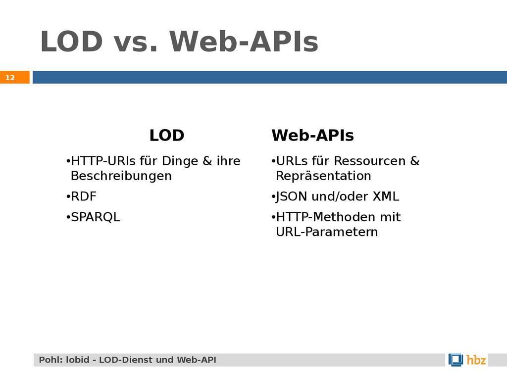 LOD vs. Web-APIs 12 Pohl: lobid - LOD-Dienst un...