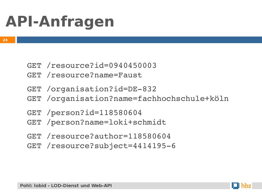 API-Anfragen 24 GET /resource?id=0940450003 GET...