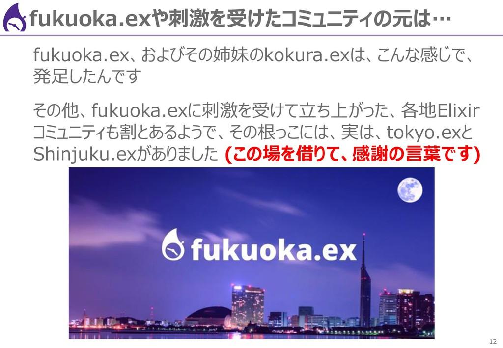 12 fukuoka.exや刺激を受けたコミュニティの元は… fukuoka.ex、およびその...