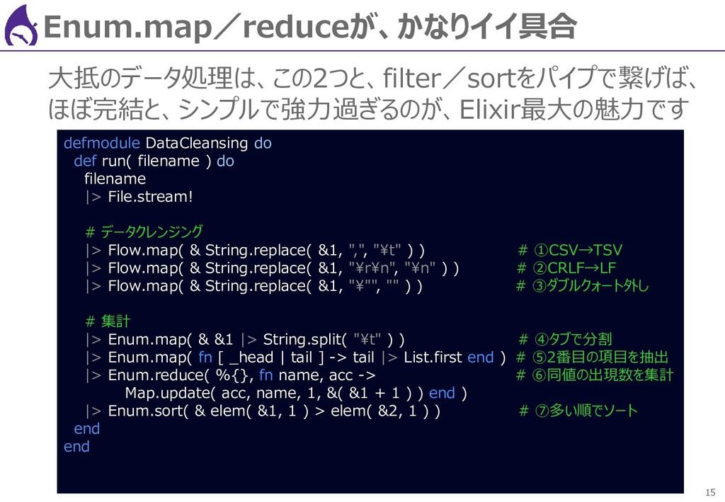 15 Enum.map/reduceが、かなりイイ具合 大抵のデータ処理は、この2つと、fil...
