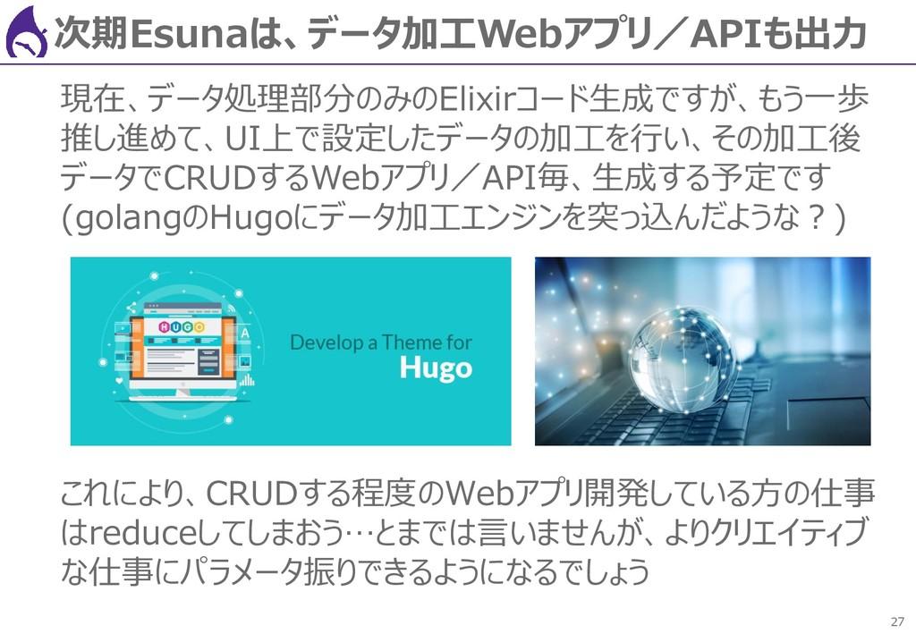 27 次期Esunaは、データ加工Webアプリ/APIも出力 現在、データ処理部分のみのEli...