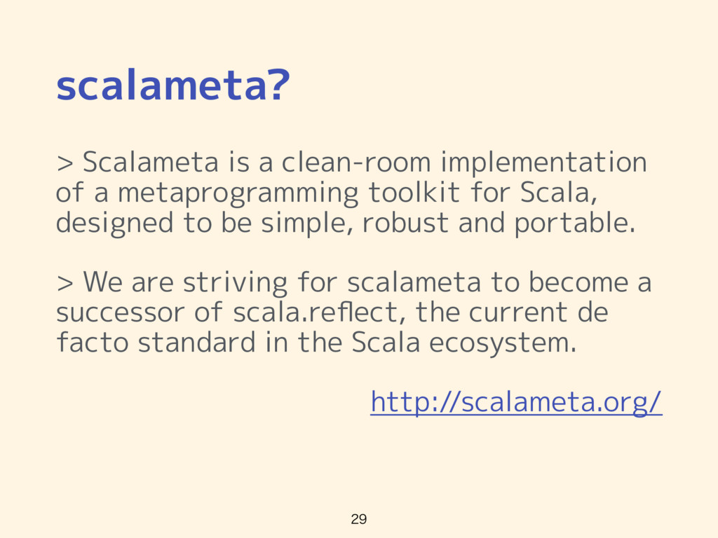 scalameta? > Scalameta is a clean-room implemen...