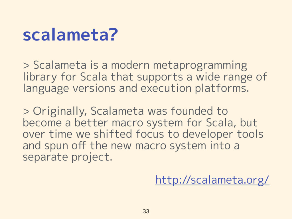 scalameta? > Scalameta is a modern metaprogramm...