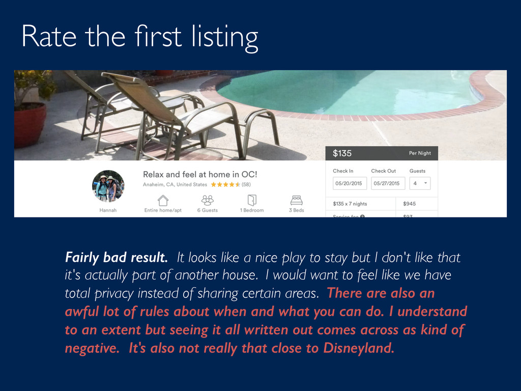 Rate the first listing Fairly bad result. It loo...