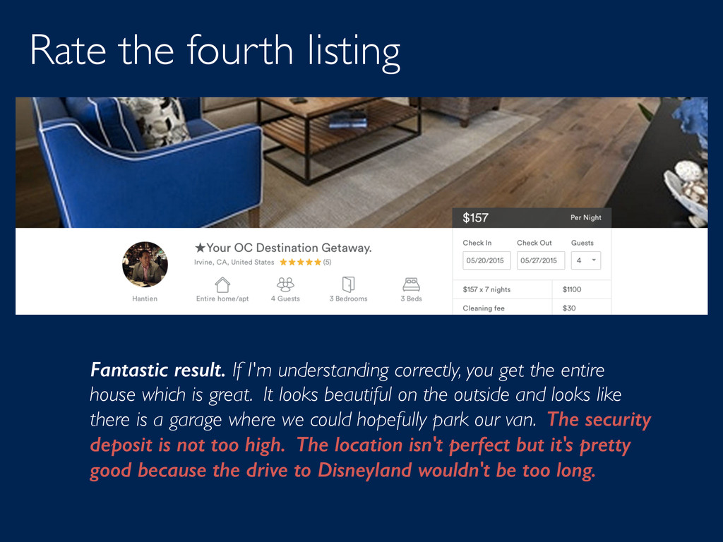 Rate the fourth listing Fantastic result. If I'...