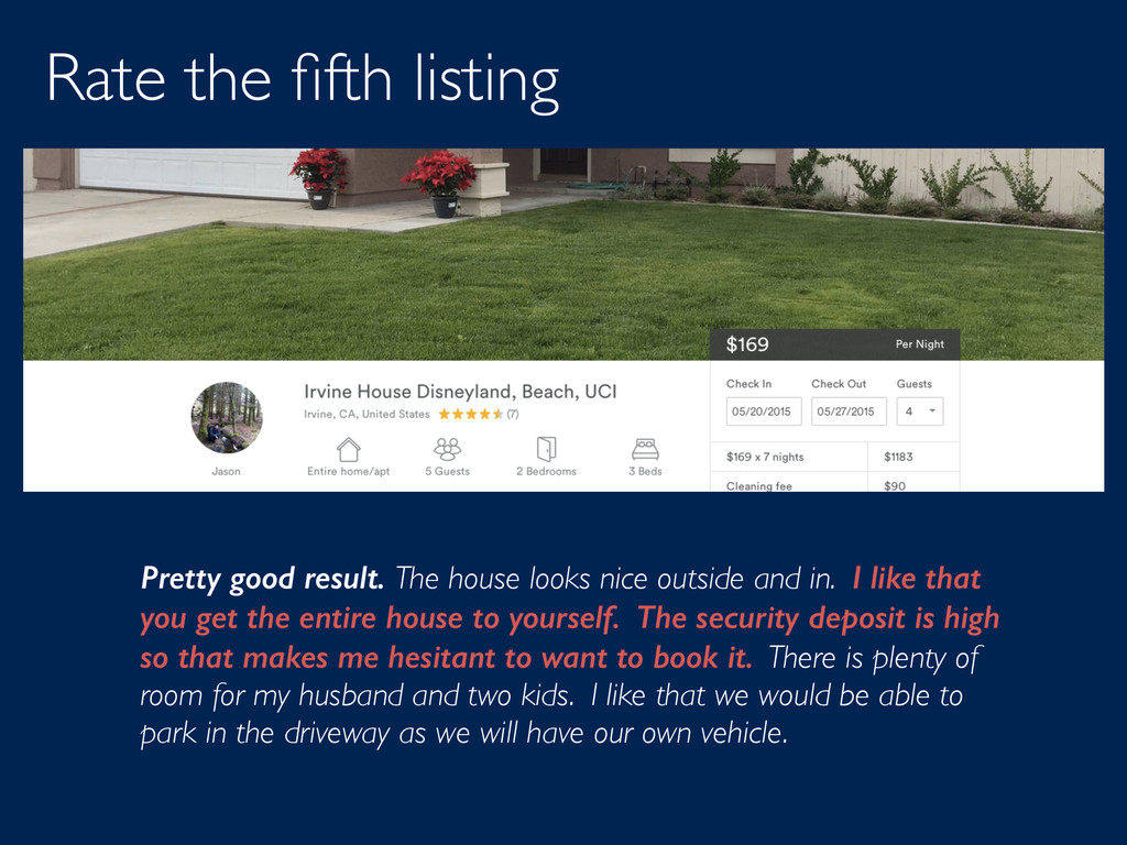 Rate the fifth listing Pretty good result. The h...