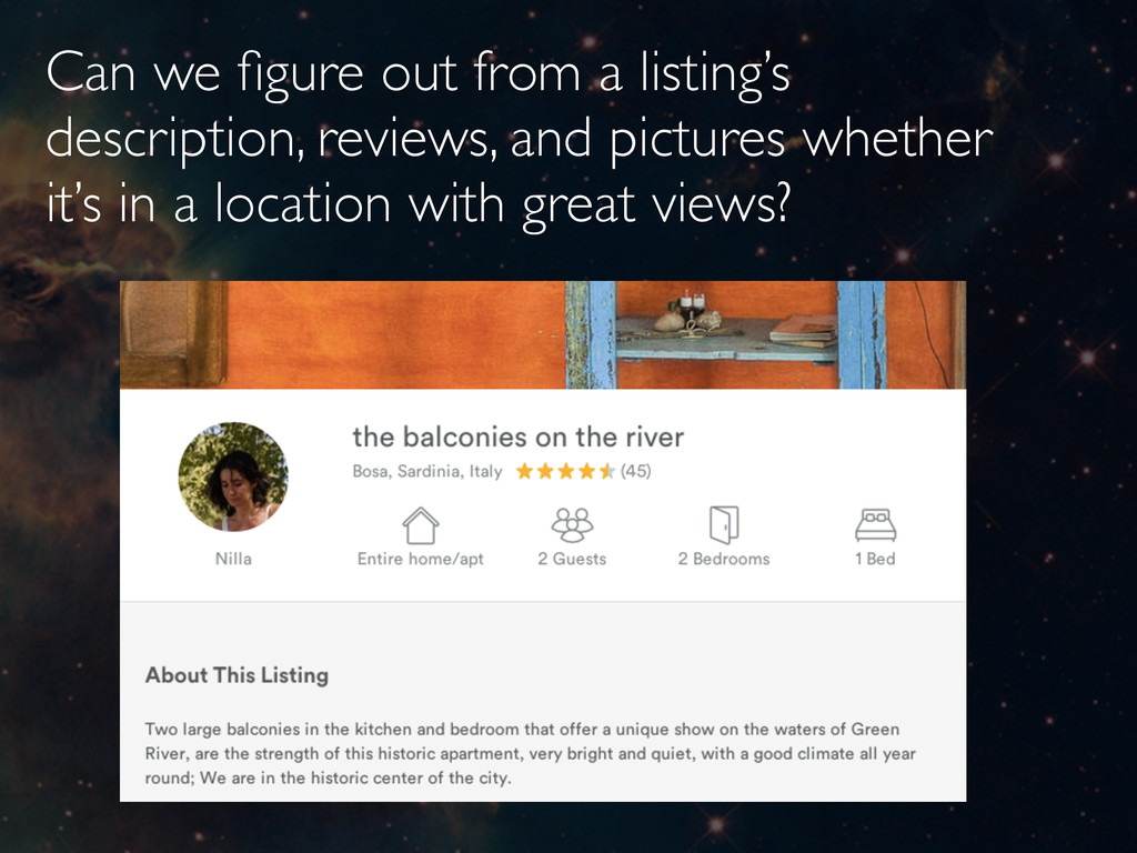 Can we figure out from a listing's description, ...