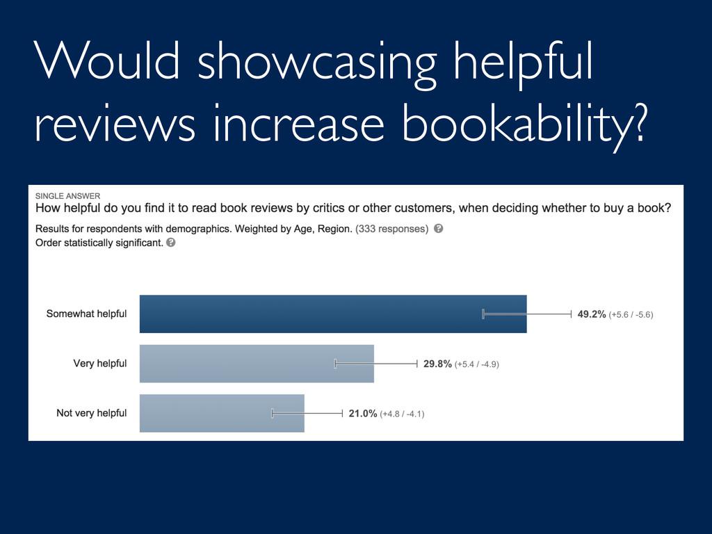 Would showcasing helpful reviews increase booka...