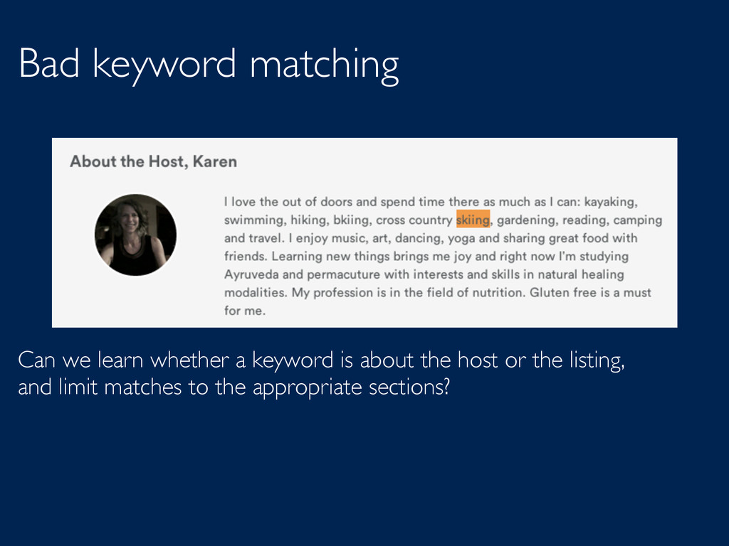 Bad keyword matching Can we learn whether a key...