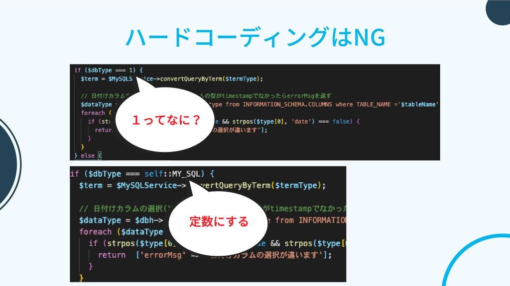 ハードコーディングはNG 定数にする 定数にする 1ってなに? 1ってなに?