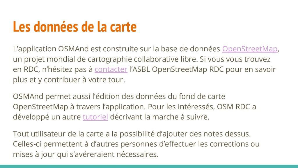 Les données de la carte L'application OSMAnd es...