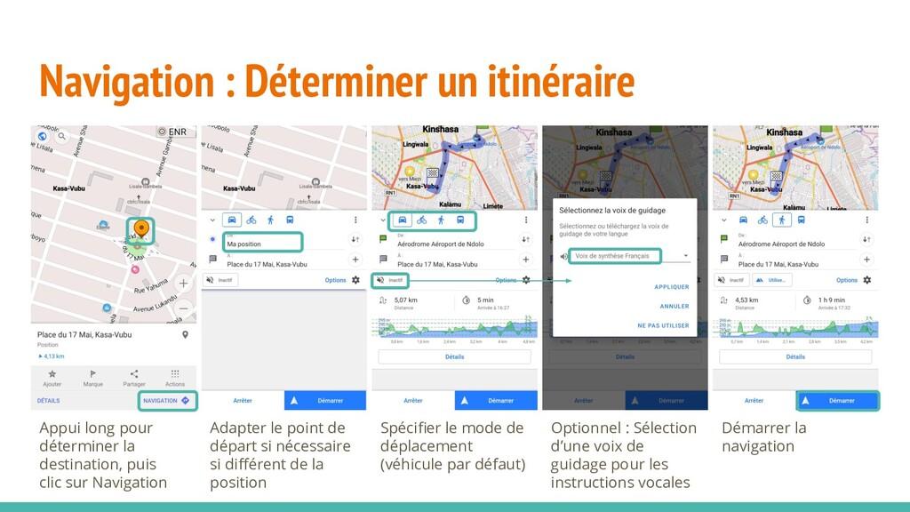 Navigation : Déterminer un itinéraire Appui lon...