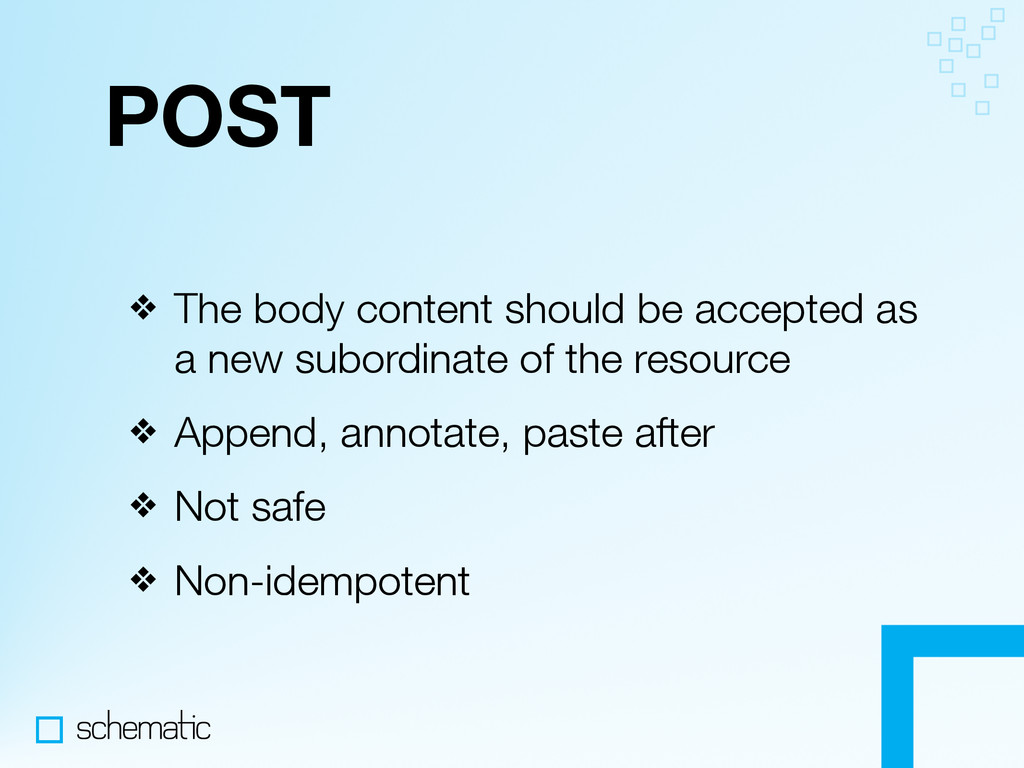 POST ❖ The body content should be accepted as a...