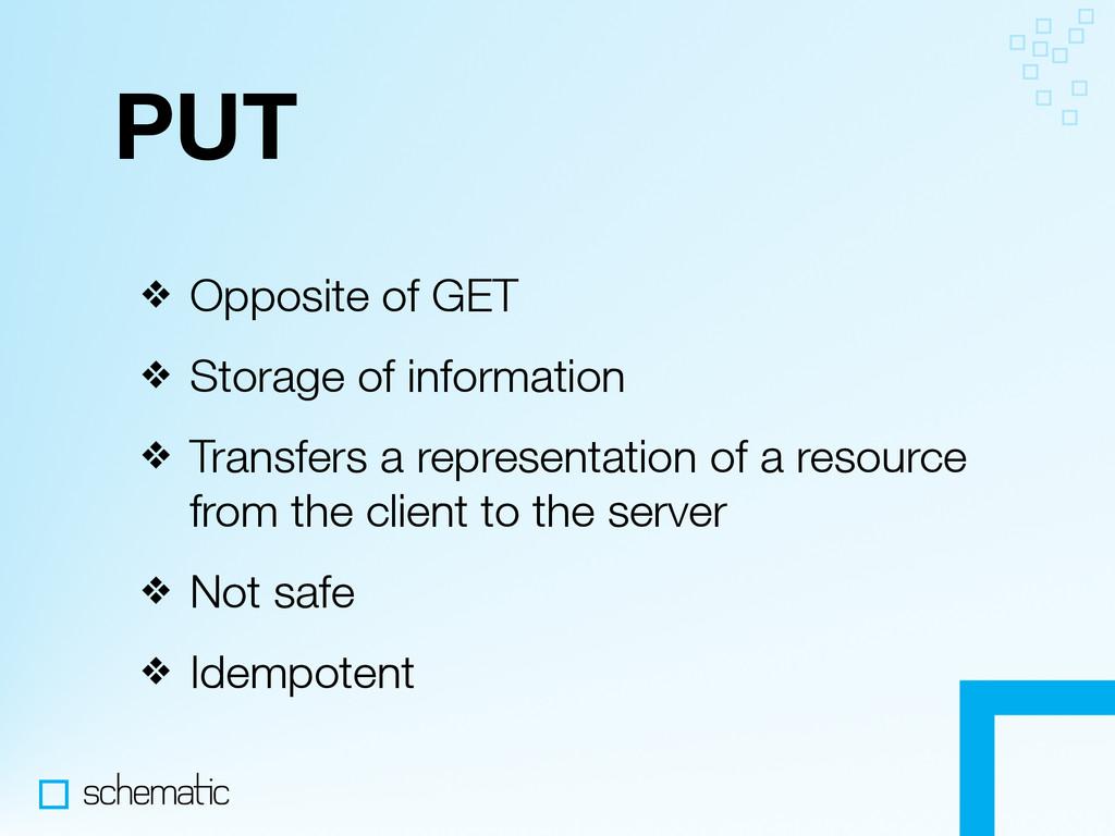 PUT ❖ Opposite of GET ❖ Storage of information ...